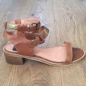 Dolce Vita Brown and Gold Leather Buckle Sandals